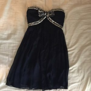 Lulus navy blue sequenced bow dress